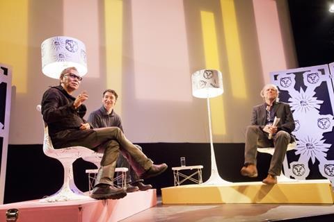 IFFR's Big Talk with director Miike Takashi (left) and host Gawie Keyser (right).